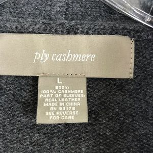 ply cashmere Jackets & Coats - Ply Cashmere Open Front Leather Trim Cardigan